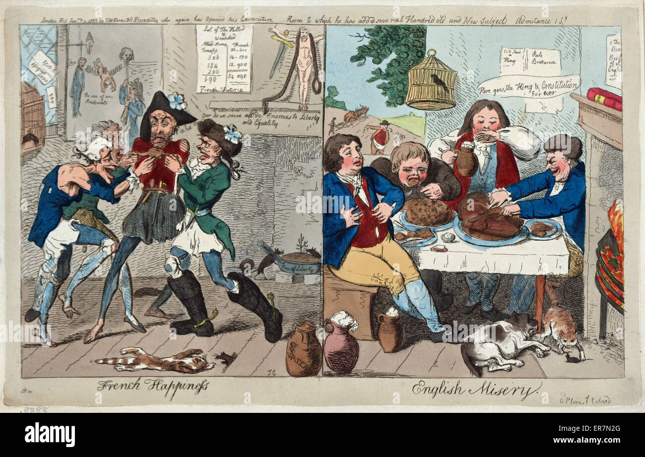French happiness - English misery. Print shows, on the left, four ragged and starving sansculottes fighting over - Stock Image