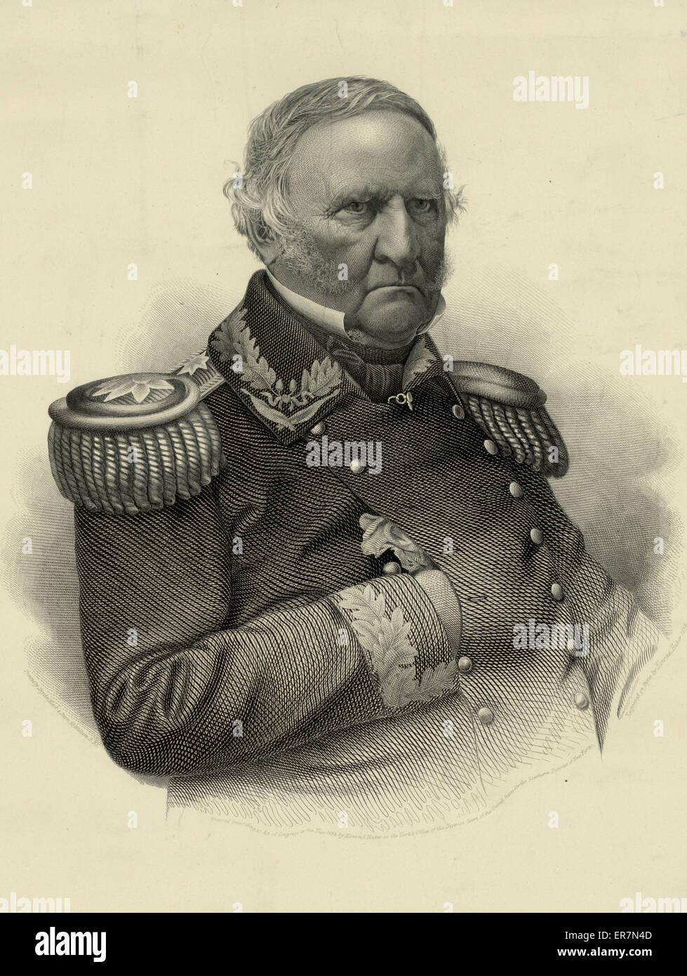 Winfield Scott. Lieut. General, Commanding U.S. Army. Date c1858 June 26. - Stock Image