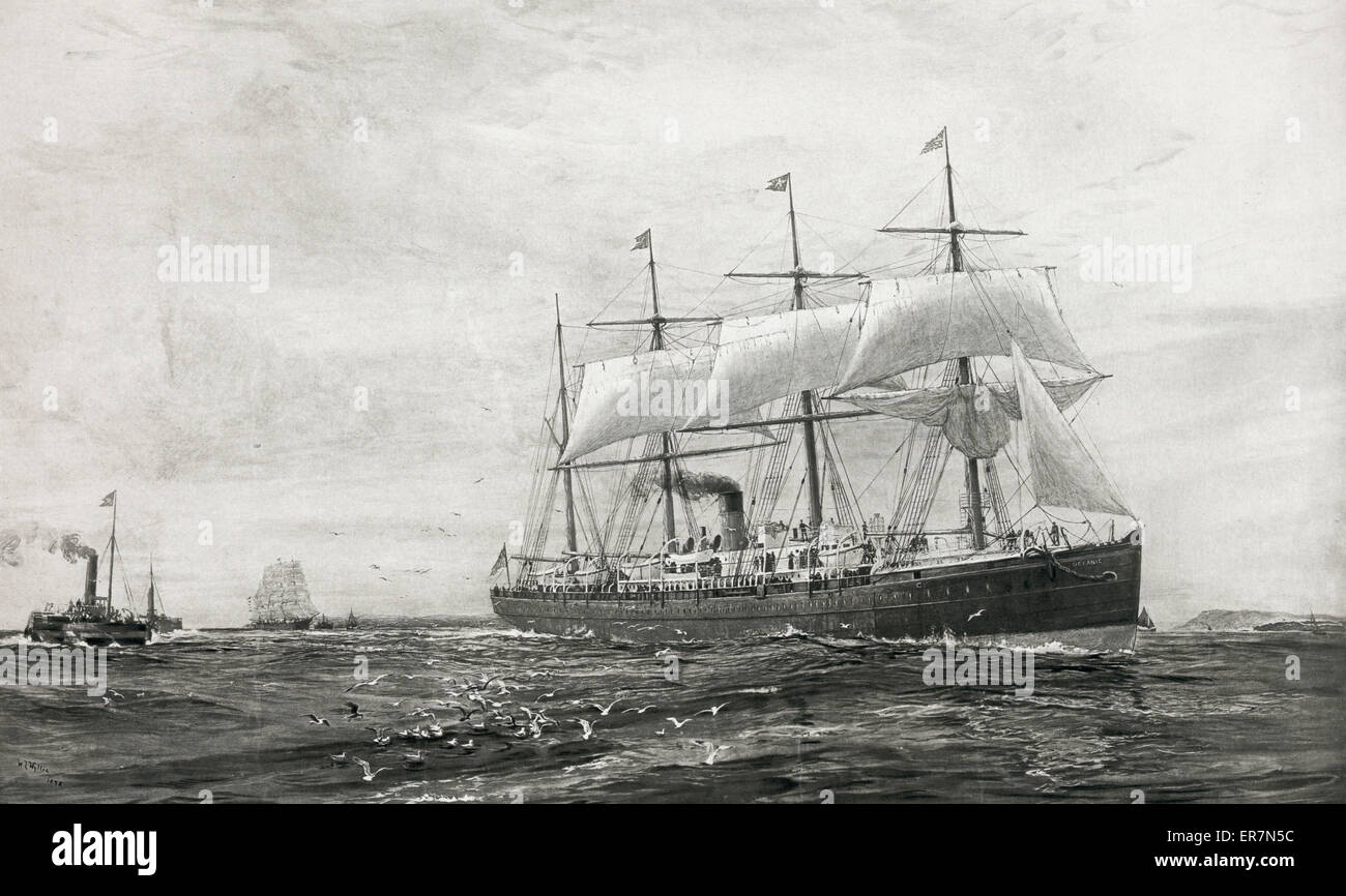 The Oceanic. Pioneer steamer of the White Star Line. The Oceanic. Pioneer steamer of the White Star Line. - Stock Image