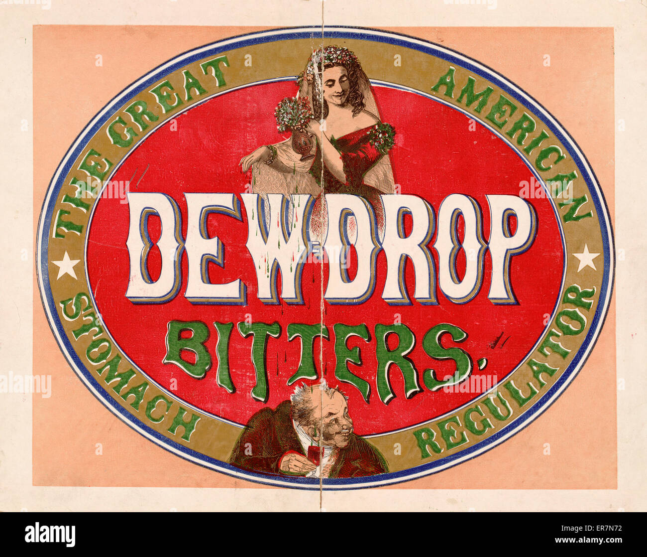 Dewdrop bitters - the great American stomach regulator. Print of a patent medicine advertisement showing a woman, - Stock Image