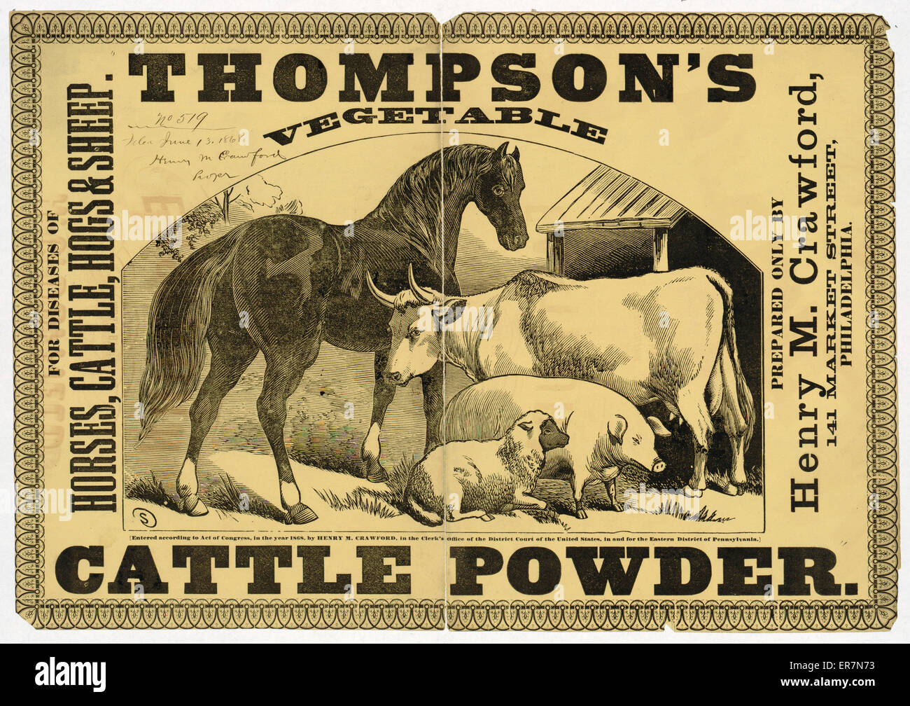 Thompson's vegetable cattle powder For diseases of horses, cattle, hogs & sheep . Print shows a horse, - Stock Image