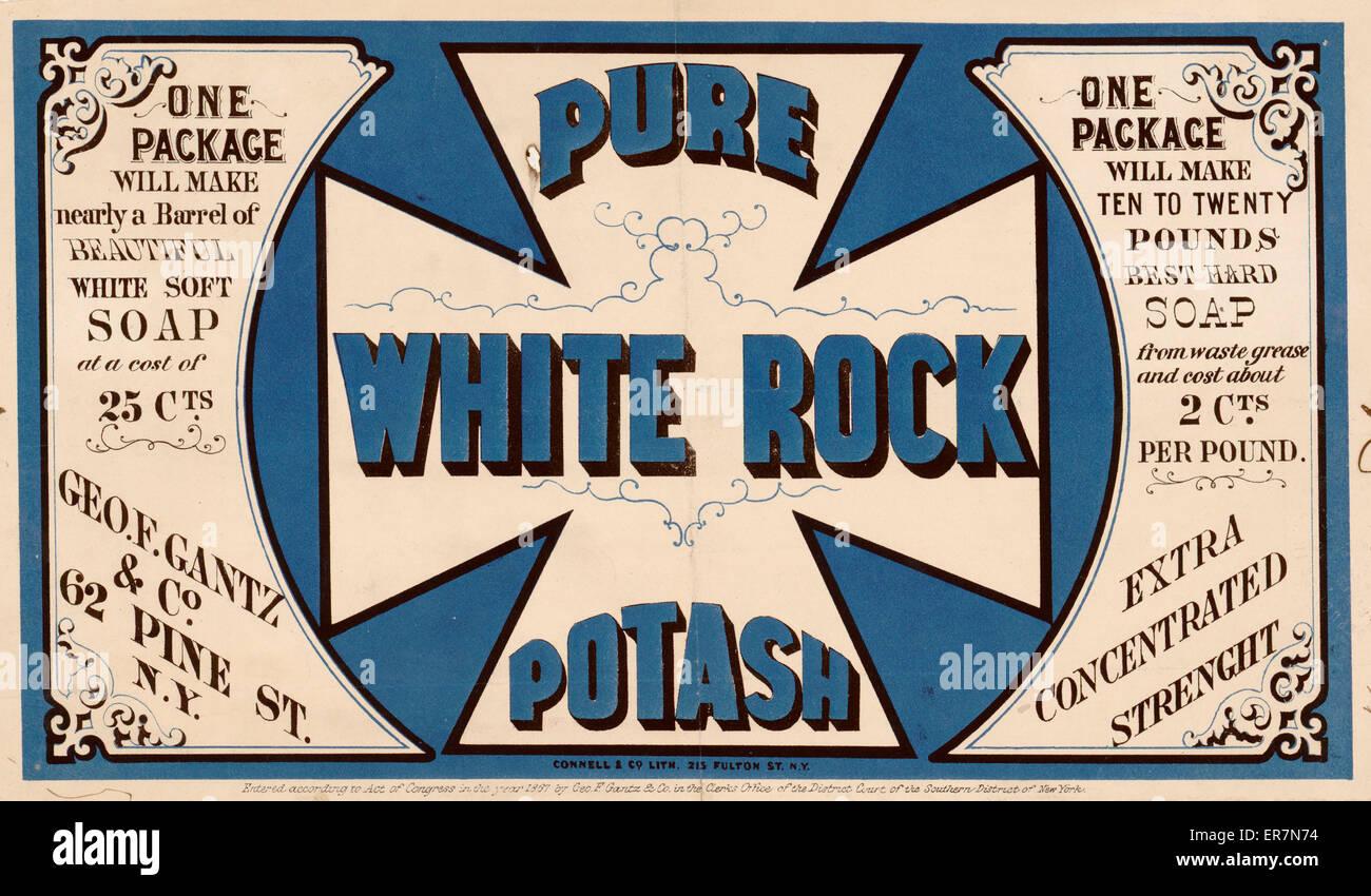 Pure white rock potash. Print shows product label for Pure White Rock Potash concentrate for making soap. Date c1867 - Stock Image