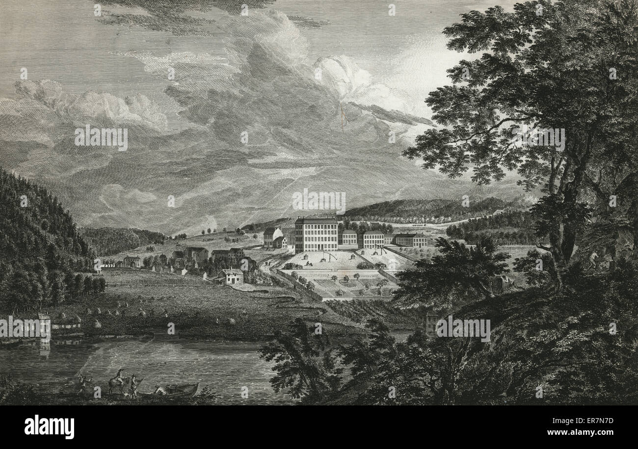 A view of Bethlem, the great Moravian settlement in the province of Pennsylvania. Print shows view of community - Stock Image