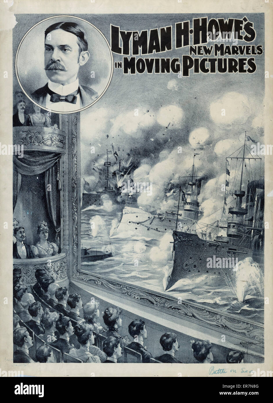 Lyman H. Howe's new marvels in moving pictures. Print shows people watching a motion picture in a theater of a battle Stock Photo