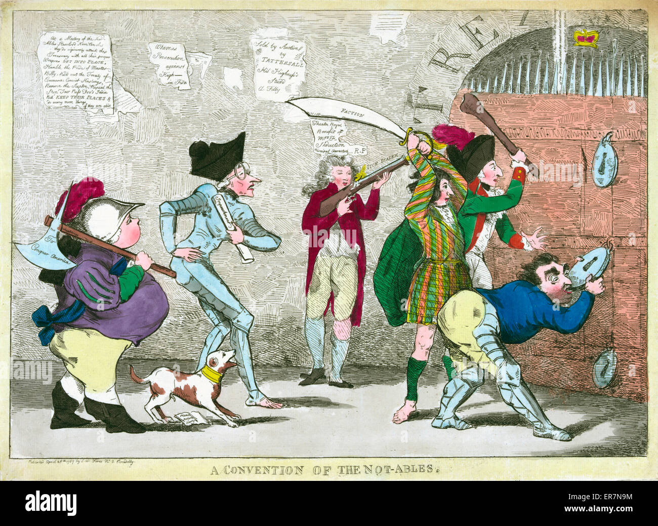 A convention of the not-ables. Print shows Lord North, Edmund Burke, Charles Fox, the Prince of Wales, and others - Stock Image