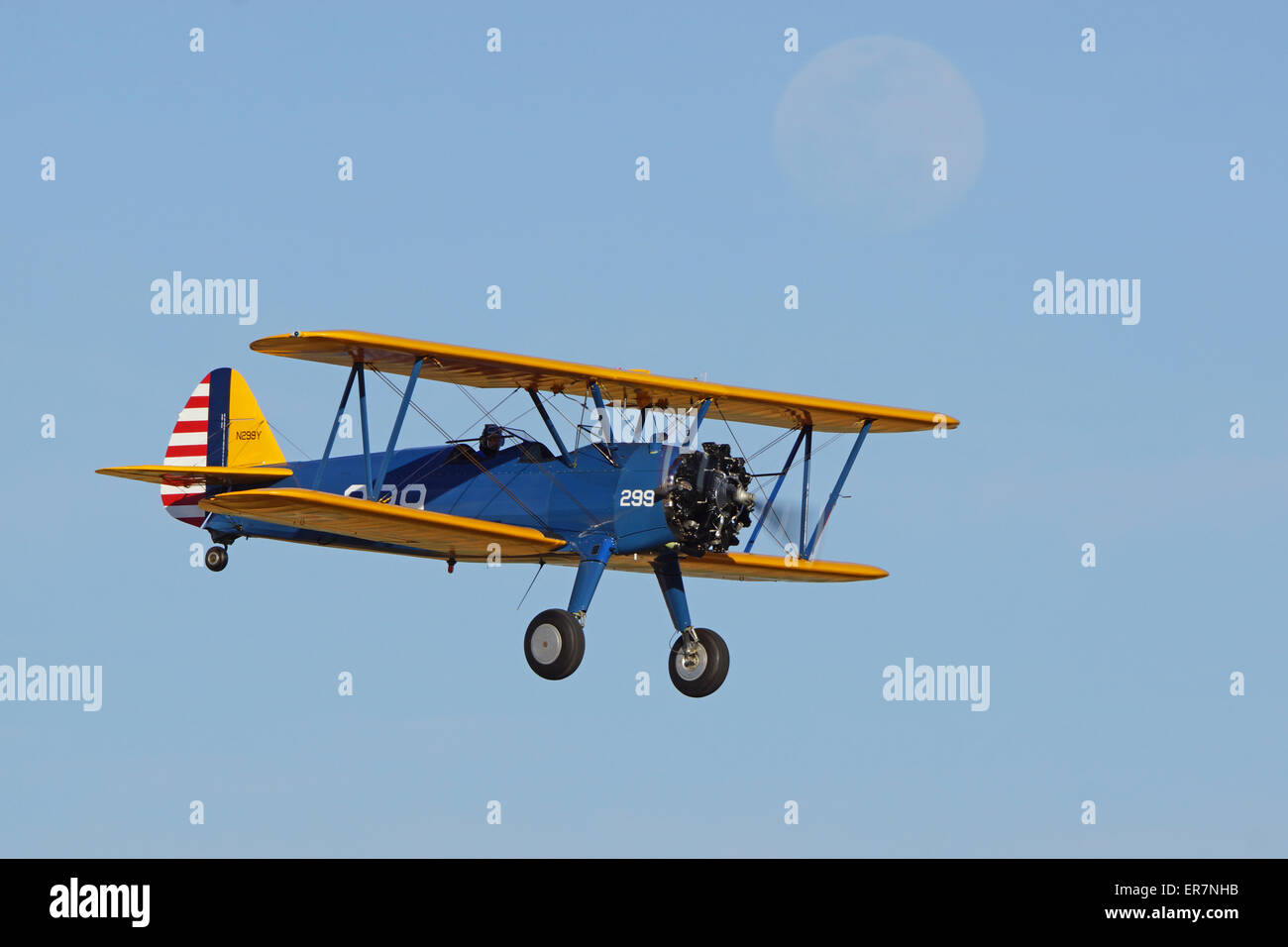 Vintage Bi-plane Airplane flying at 2015 Planes of Fame Air Show - Stock Image
