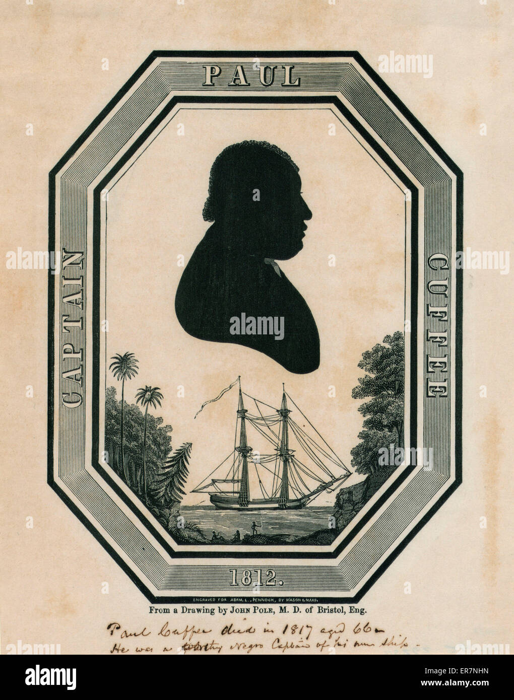 Captain Paul Cuffee 1812. Print shows a silhouette head-and-shoulders portrait of Paul Cuffe, a prosperous businessman - Stock Image