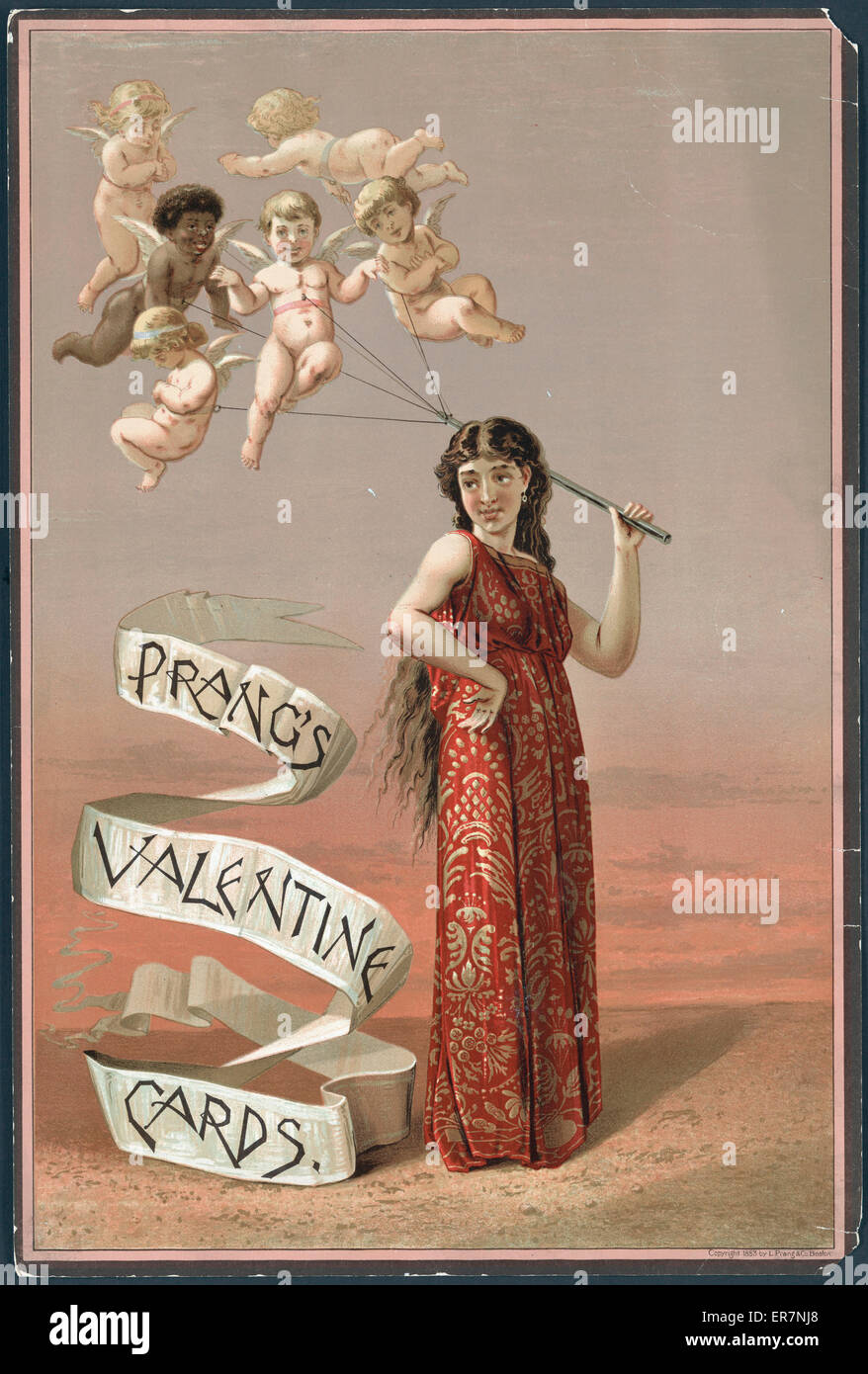 Prang's Valentine cards. Advertisement for Prang's greeting cards, showing a woman holding a group of tethered - Stock Image