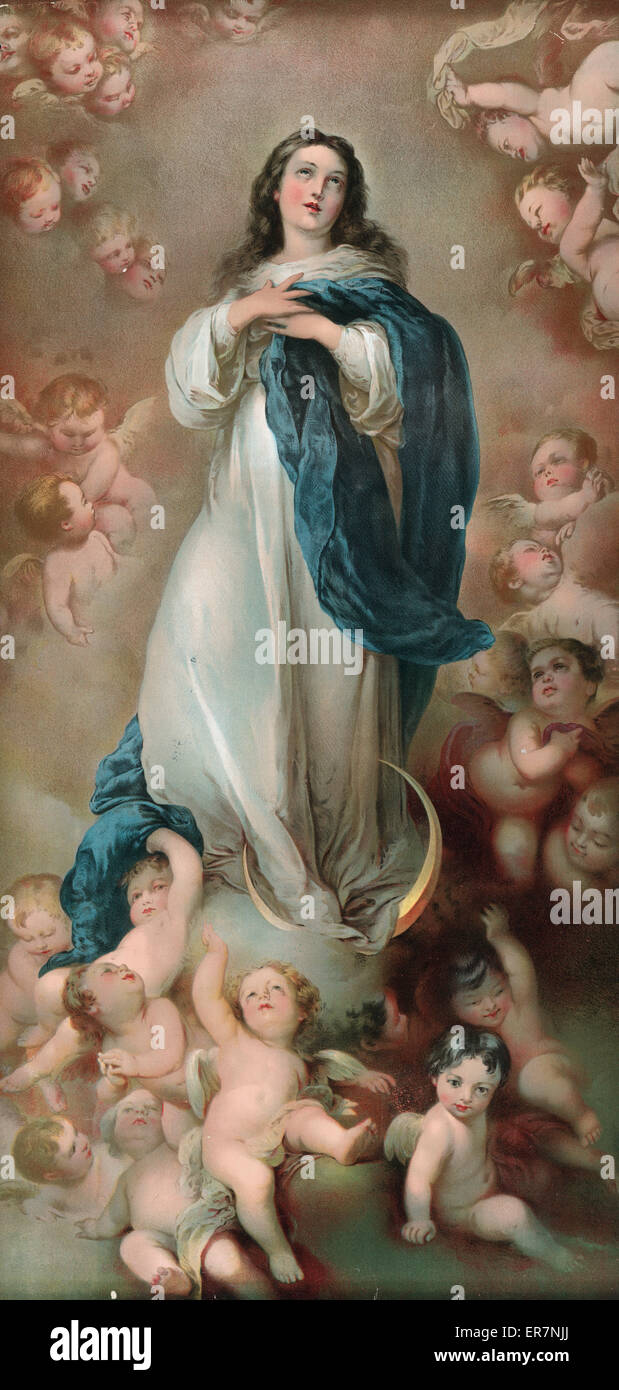 The Immaculate Conception   by Murillo Paper Print Repro