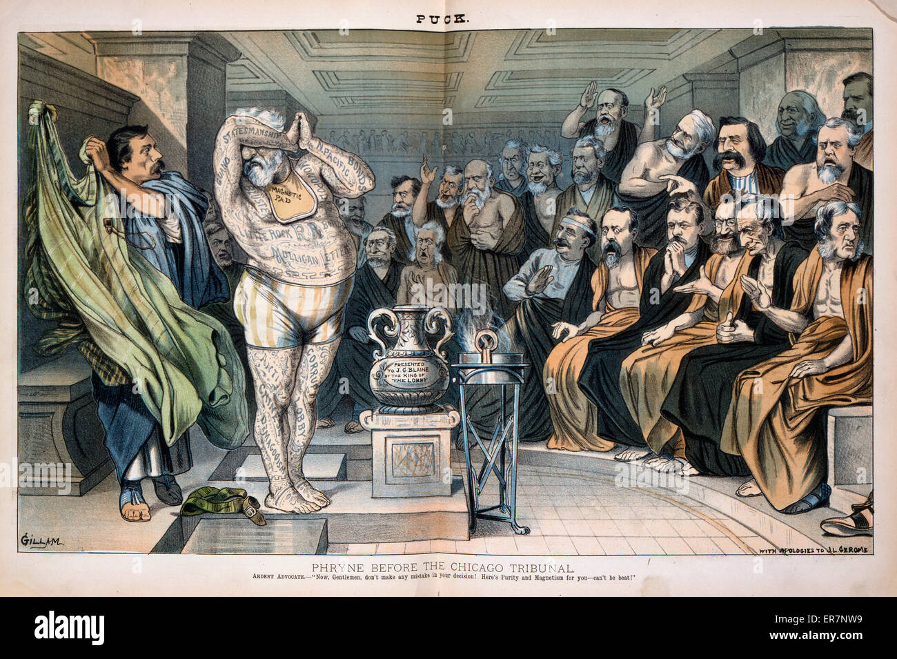 Phryne before the Chicago tribunal. Illustration showing Republican presidential candidate James G. Blaine, wearing - Stock Image
