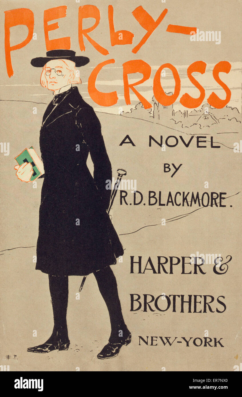Perly-cross, a novel by RD Blackmore. Poster shows a man dressed as a clergyman carrying a bible in one hand and - Stock Image
