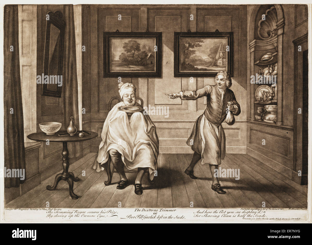 The dextrous trimmer or Pool Pill Garlick left in the suds. Date 1751. - Stock Image