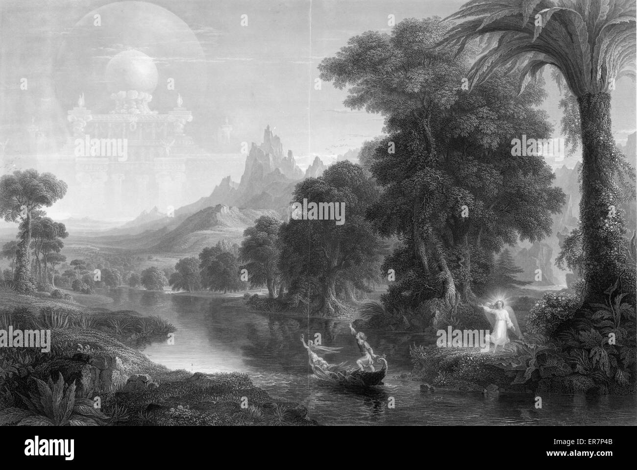 The voyage of life - youth. Print showing a young man in a boat floating on a river toward a celestial kingdom; - Stock Image
