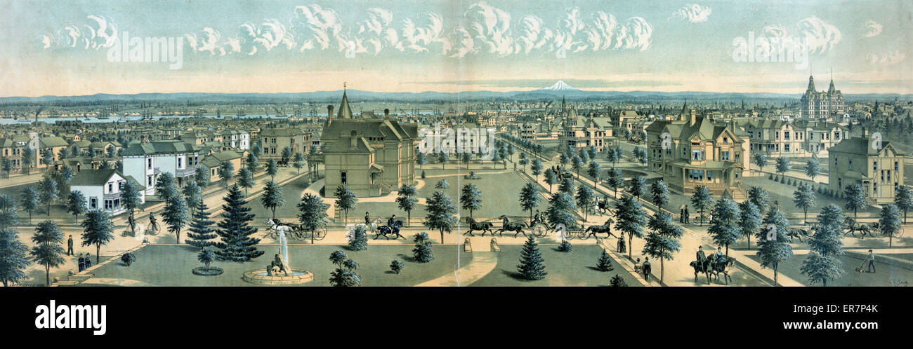 Portland, Oregon - the metropolis of the Pacific Northwest. Print showing bird's-eye view of Portland, Oregon. - Stock Image