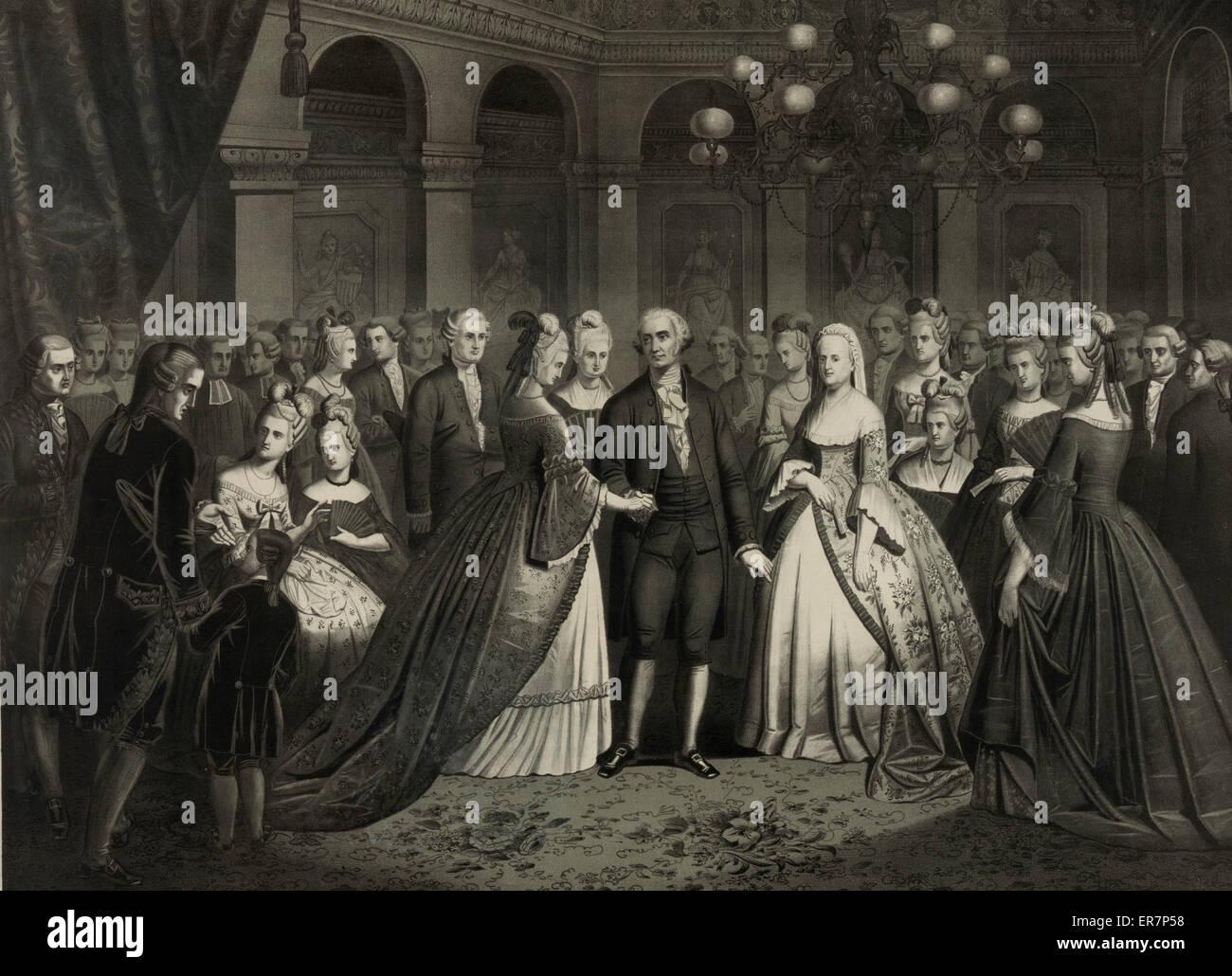 Washington's reception at the White House, 1776. Print showing George and Martha Washington among crowd at reception. - Stock Image