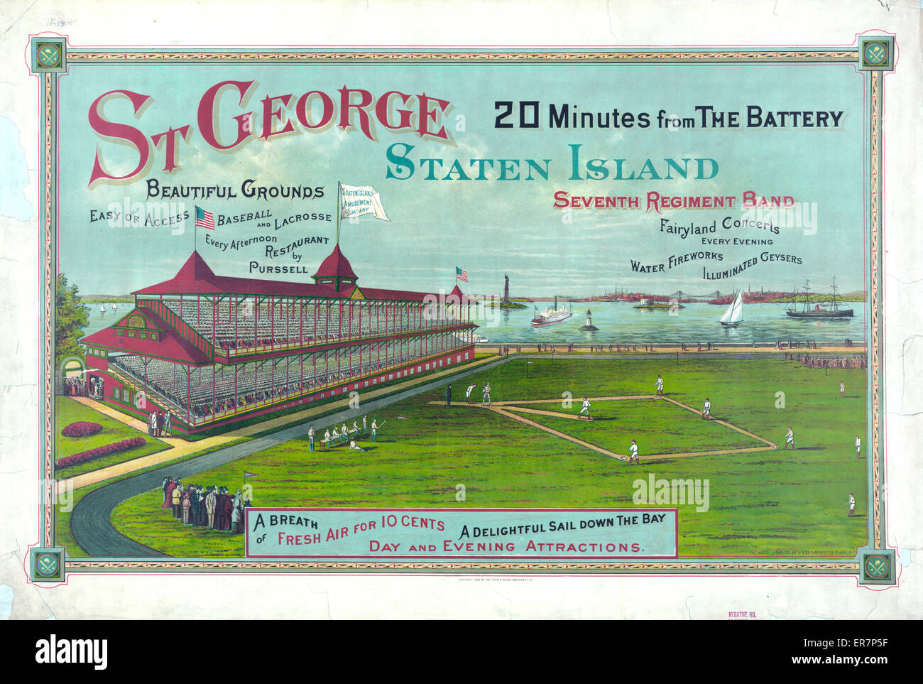 St George Staten Island 20 minutes from the Battery. Print showing a baseball game in progress before crowded grandstand - Stock Image