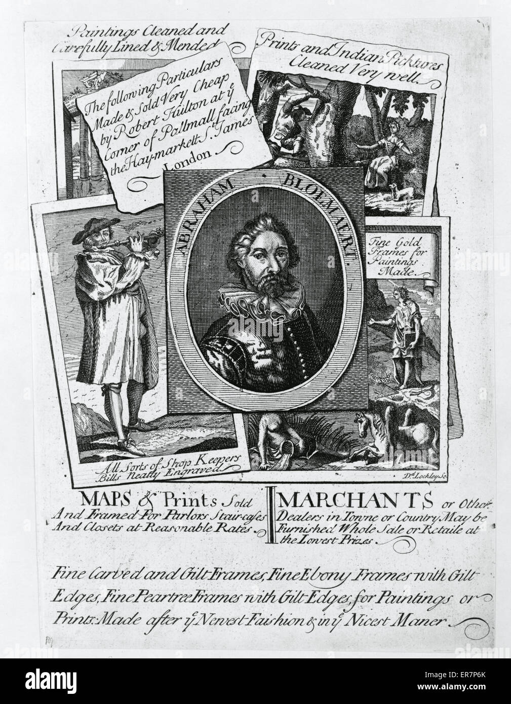 Maps and prints sold and framed Print, an advertisement for Robert Hulton's London shop, shows the types of - Stock Image