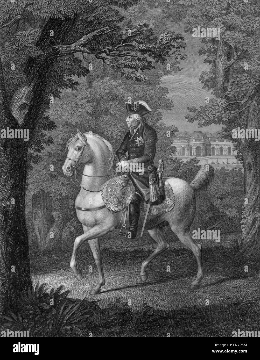 Print showing Frederick II, King of Prussia, on horseback, facing left. Date between 1786 and 1800?. - Stock Image