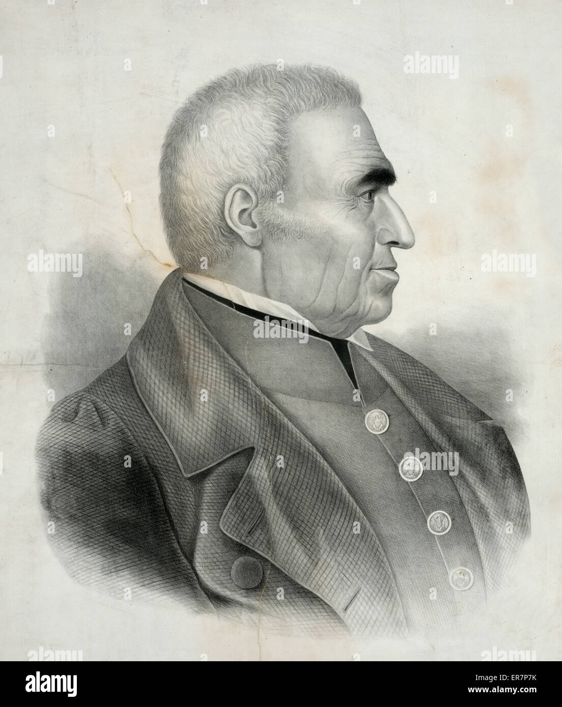 Zachary Taylor, major genl. of the U.S. Army. Print showing Zachary Taylor, head-and-shoulders portrait, right profile. - Stock Image