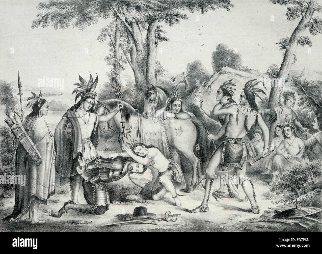 Smith Rescued By Pocahontas Print Showing Capt John His Head Bound To A Large Stone With Leaning Over Him Preventing Opechancanough