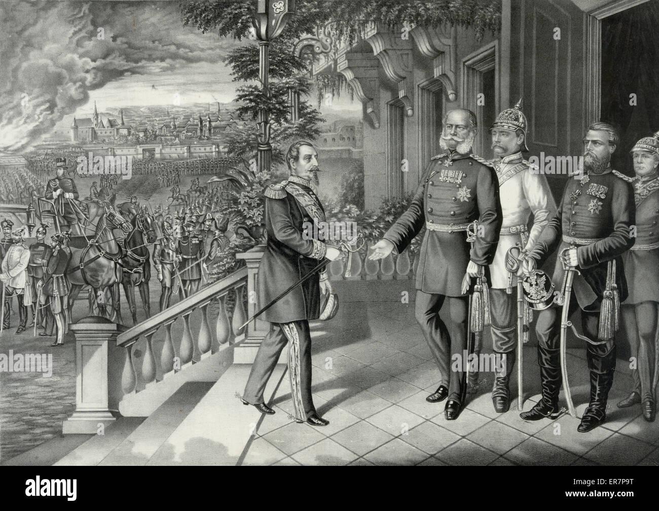 Surrender of Napoleon III on Sepr. 2d. 1870. Print shows Napoleon III handing his sword to Wilhelm I, King of Prussia, - Stock Image