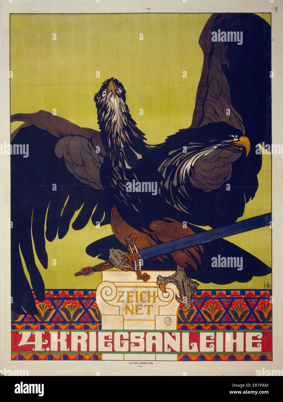 Zeichnet 4. Kriegsanleihe. Poster shows the doubled-headed Austrian eagle, holding a sword in its talons.Text announces - Stock Image