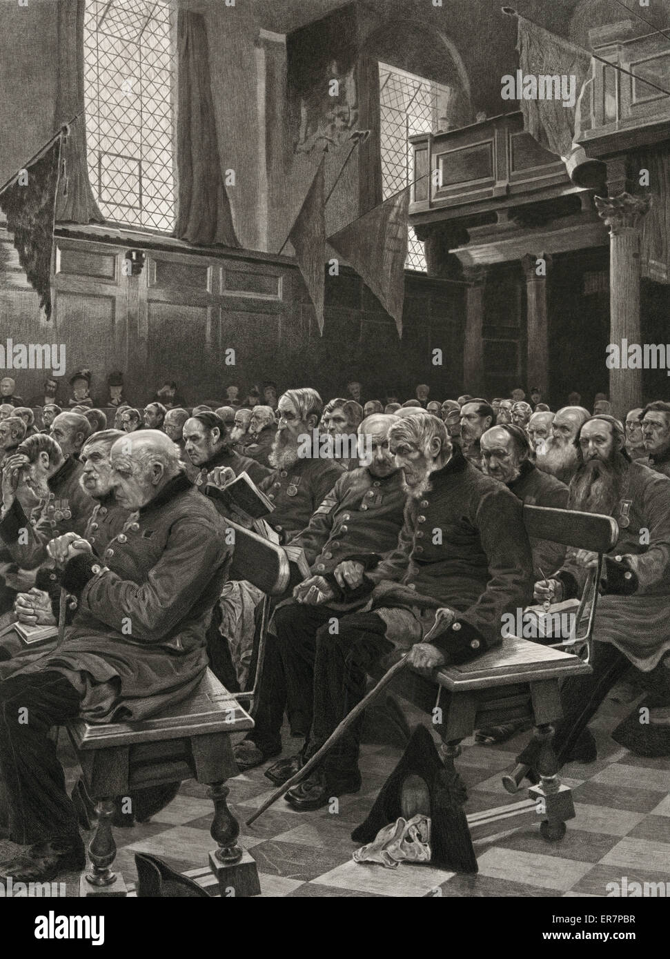 The last muster. Print showing old soldiers sitting in the chapel at the Royal Hospital in Chelsea. Date c1878 October - Stock Image