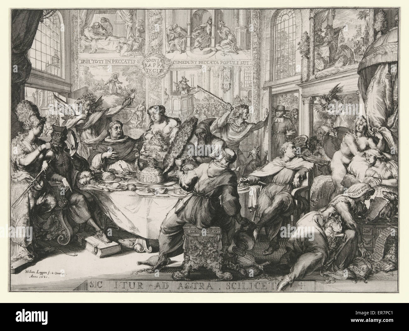 Sic itur ad astra scilicet. Print shows scene in a bawdy house of pleasure frequented by Father Petre and other - Stock Image