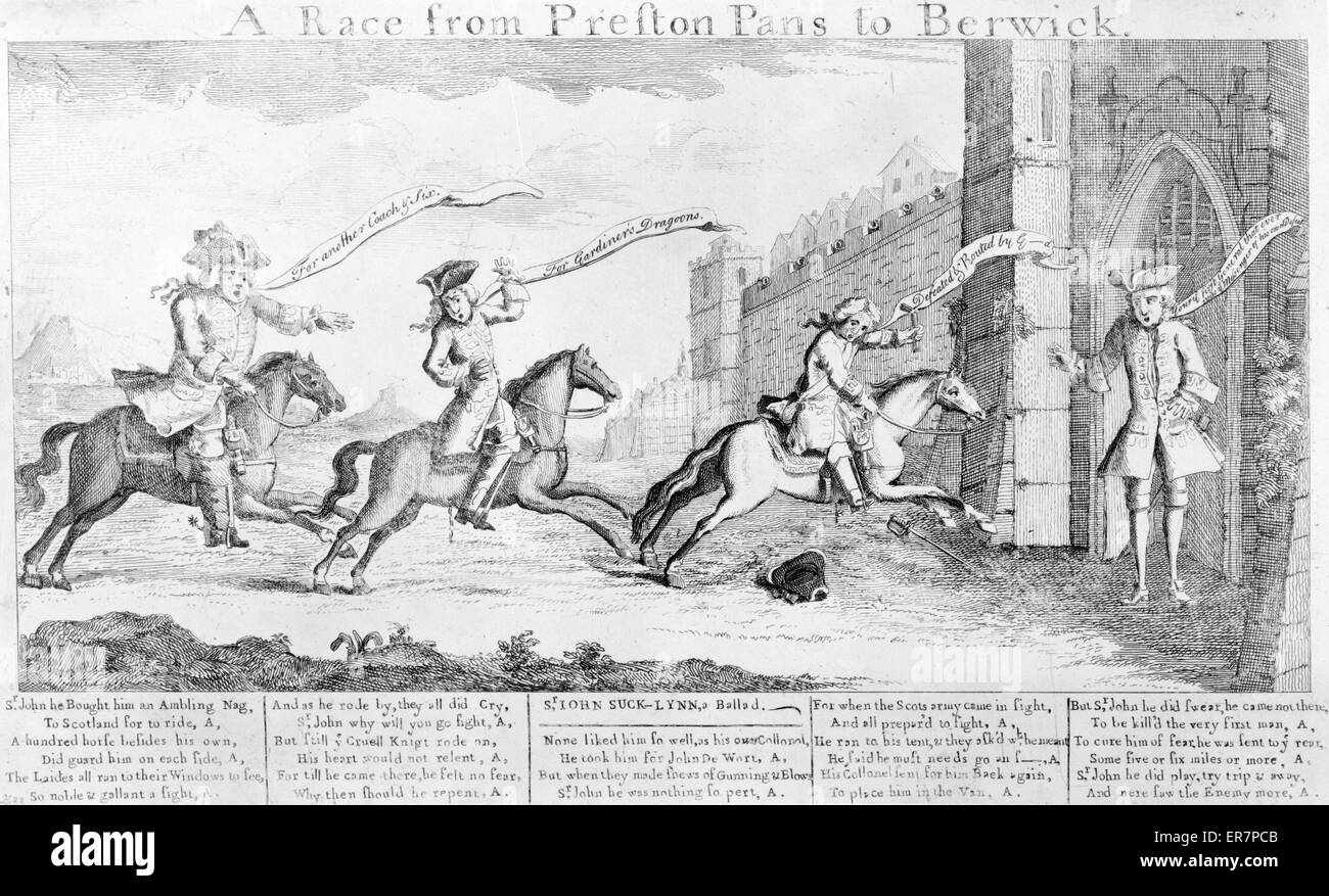 A Race from Preston Pans to Berwick. Print shows General Sir John Cope and two other British officers riding to Stock Photo