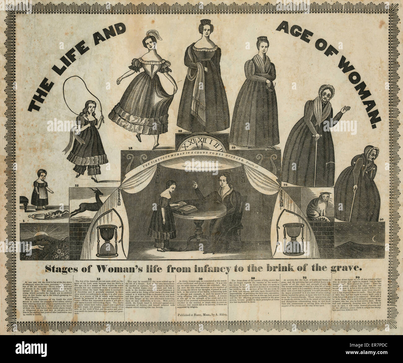 The Life and age of woman, stages of woman's life from the infancy to the brink of the grave. Print shows seven - Stock Image