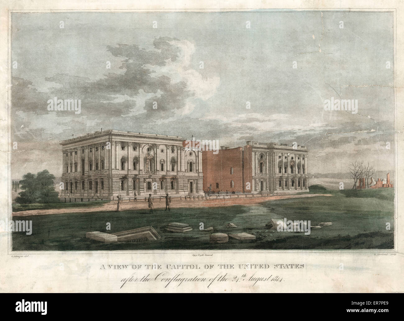 A view of the Capitol after the conflagration of the 24th August 1814. Print shows a view from southeast of fire - Stock Image