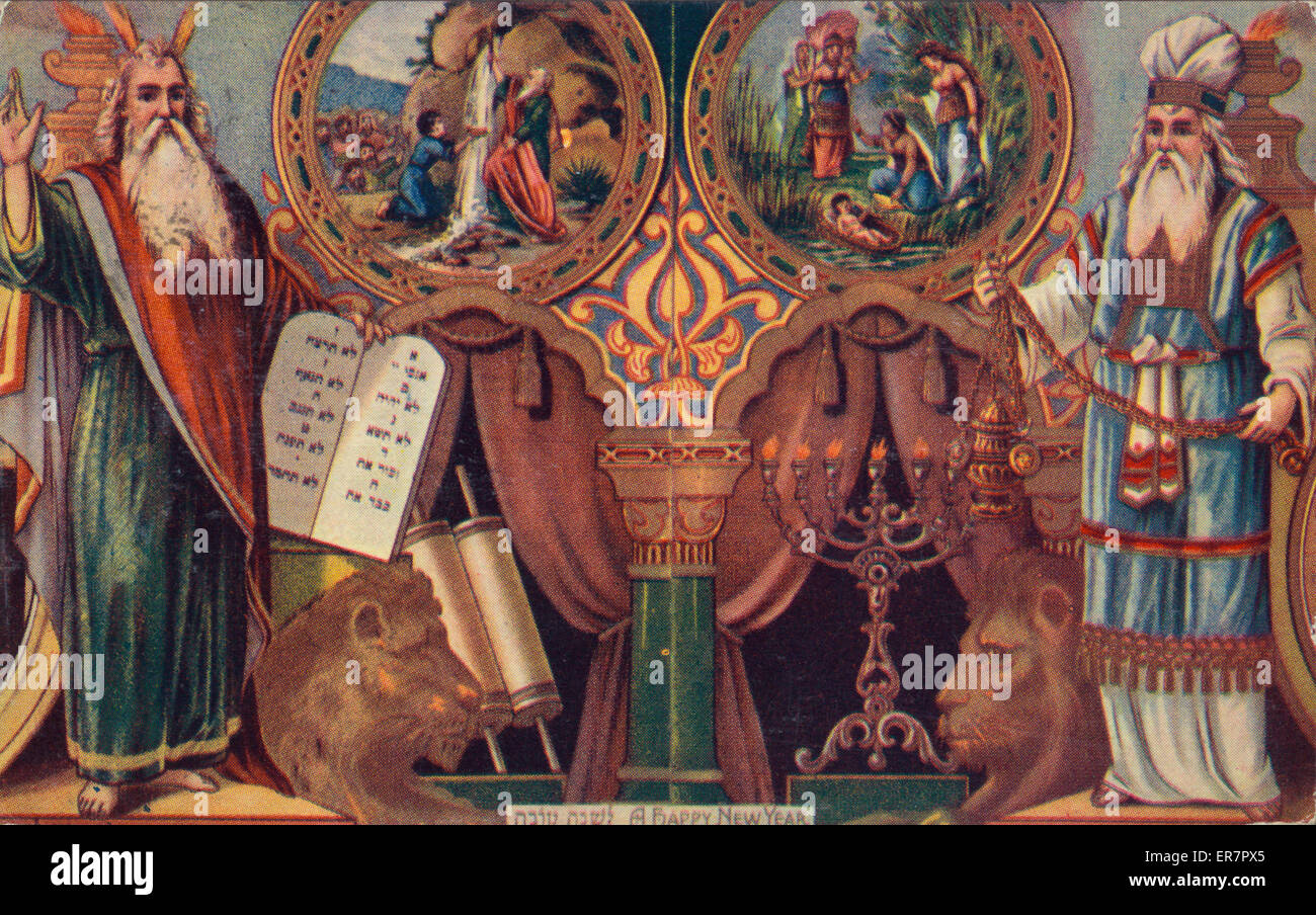 A happy new year. Print shows Moses and Aaron. Moses holds the Ten Commandment tablets, Aaron an incense burner. - Stock Image
