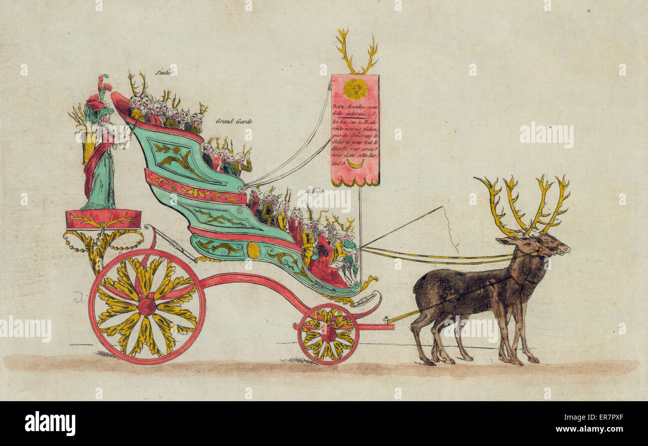 3 orders proceeding to Versailles, May 1789. Print shows ornate carriage in which are riding well-dressed people - Stock Image
