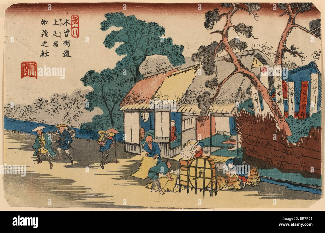 Kamo Shrine, Ageo. Print shows farmers at a mill getting their grain ground on a millstone in front of the miller's - Stock Image