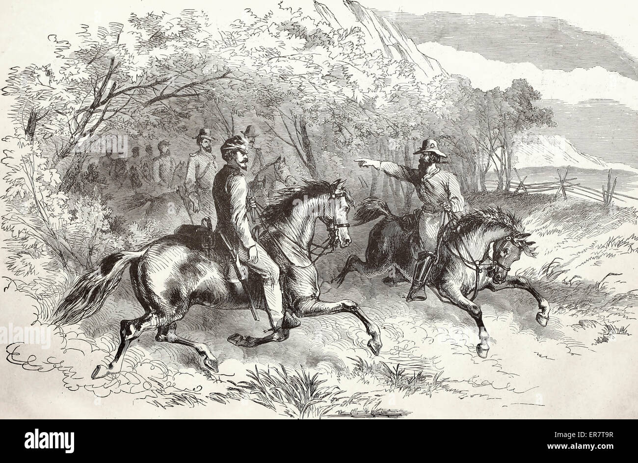 United States Cavalry Scouting in the Neighborhood of Fairfax Courthouse, Virginia at the start of the USA Civil - Stock Image