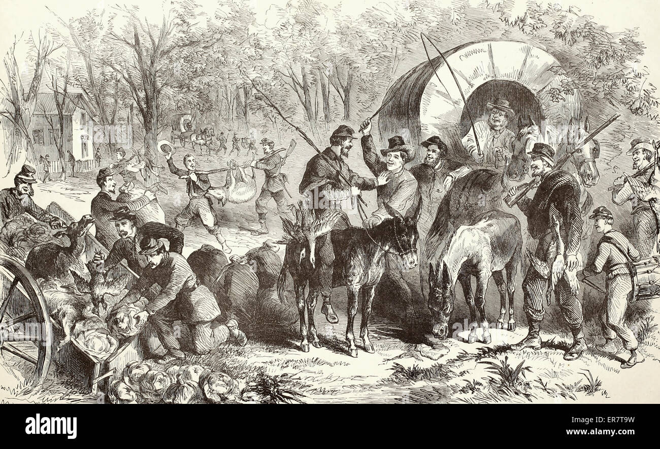 The return of a Federal foraging party into camp near Annandale Chapel, Virginia  USA Civil War - Stock Image