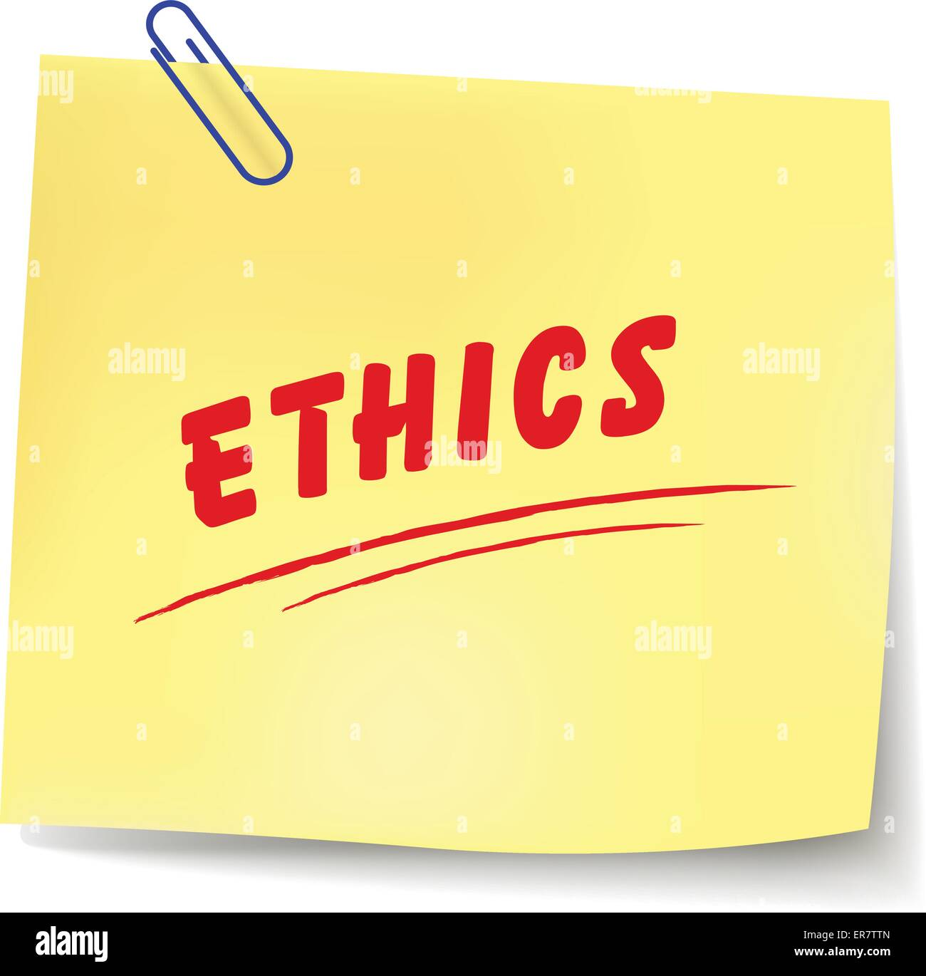 Vector illustration of ethics paper message on white background - Stock Image