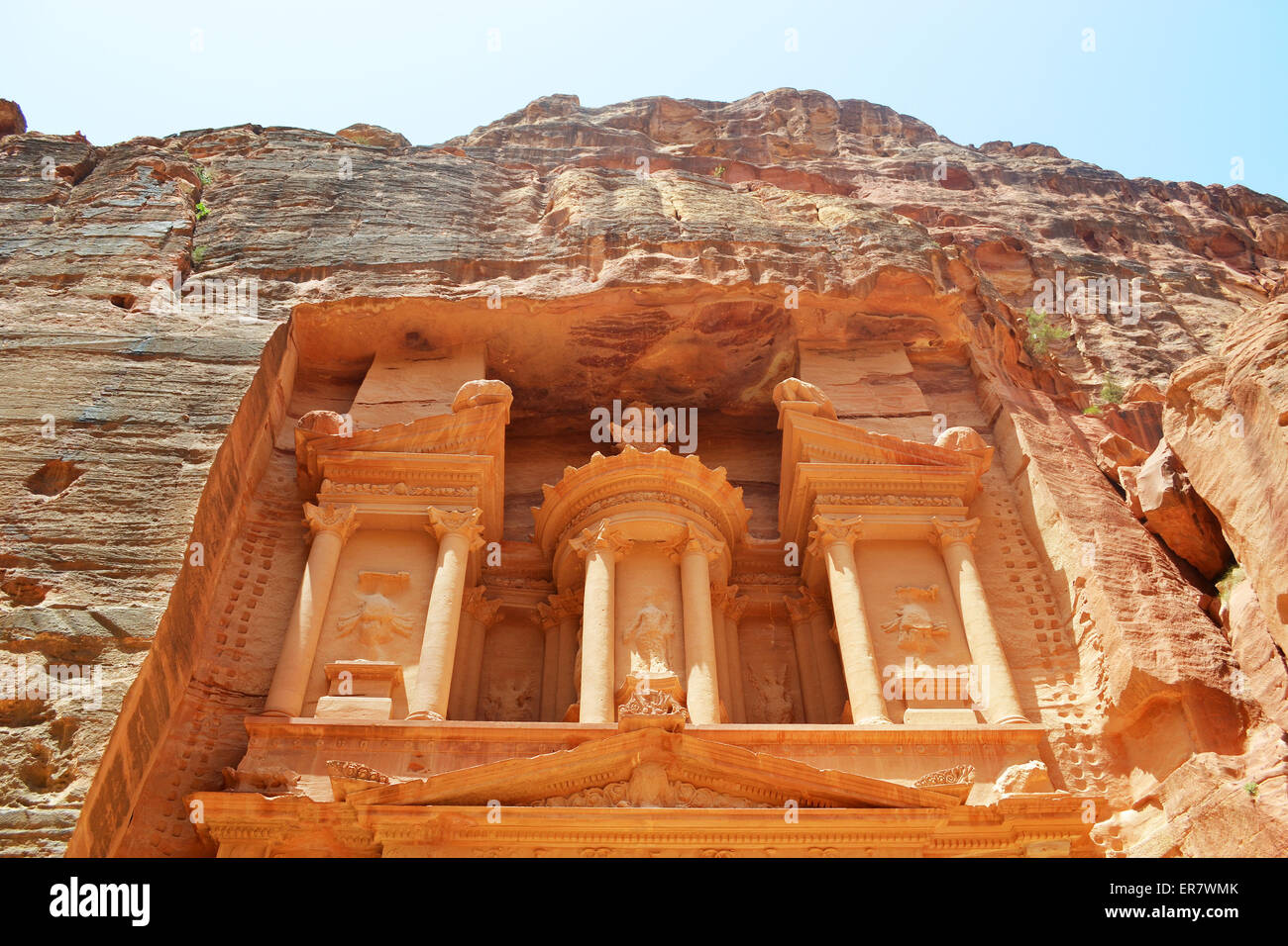 PETRA, JORDAN - MAY 19, 2015: Close up of the upper part of the treasury of the Nabataean ancient city of Petra, - Stock Image