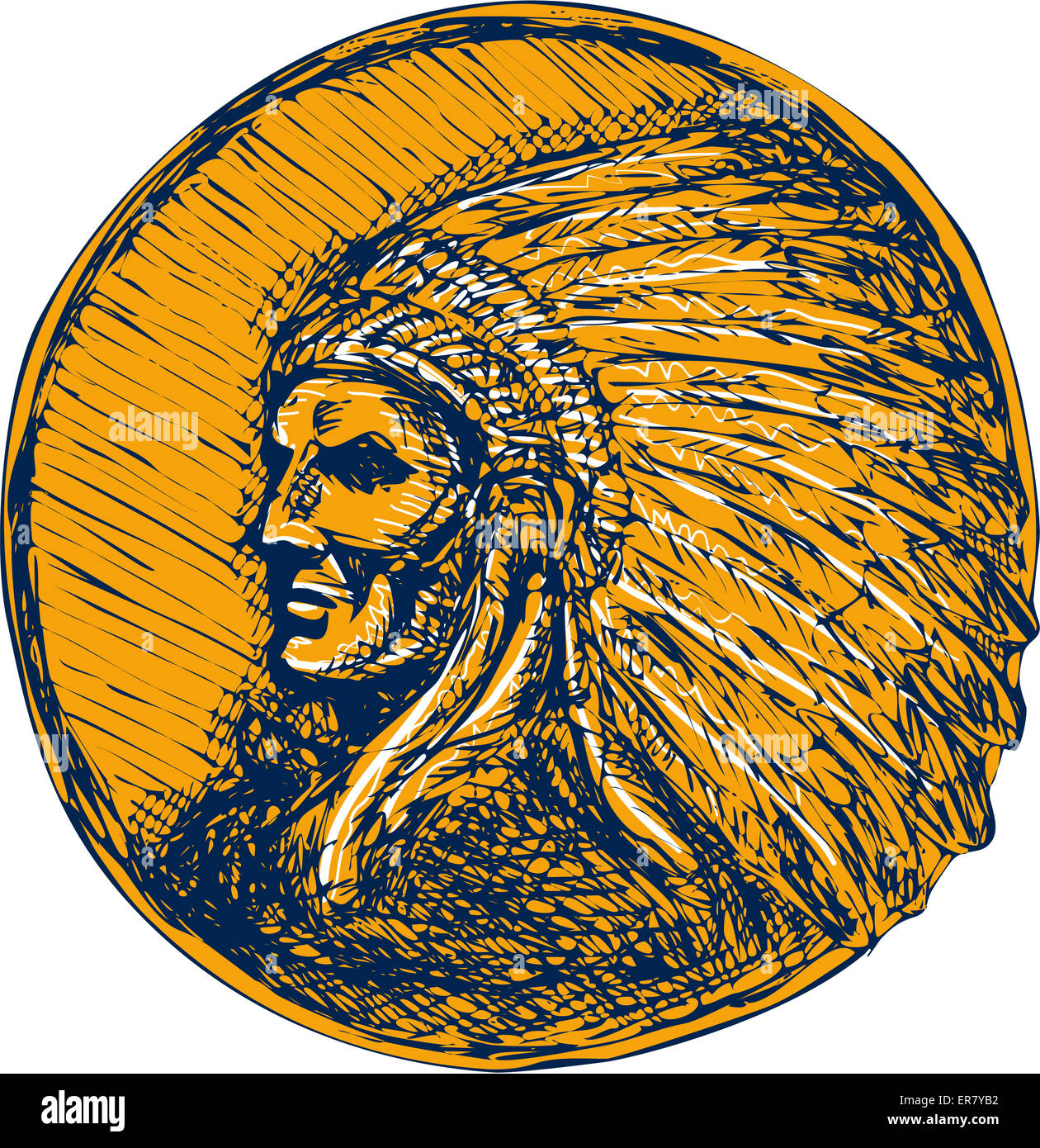 Drawing illustration of a native american indian chief warrior with headdress facing side set on isolated background. - Stock Image