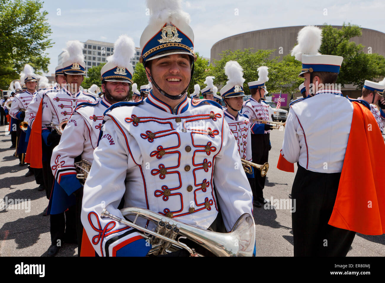 High school marching band member in uniform - USA - Stock Image