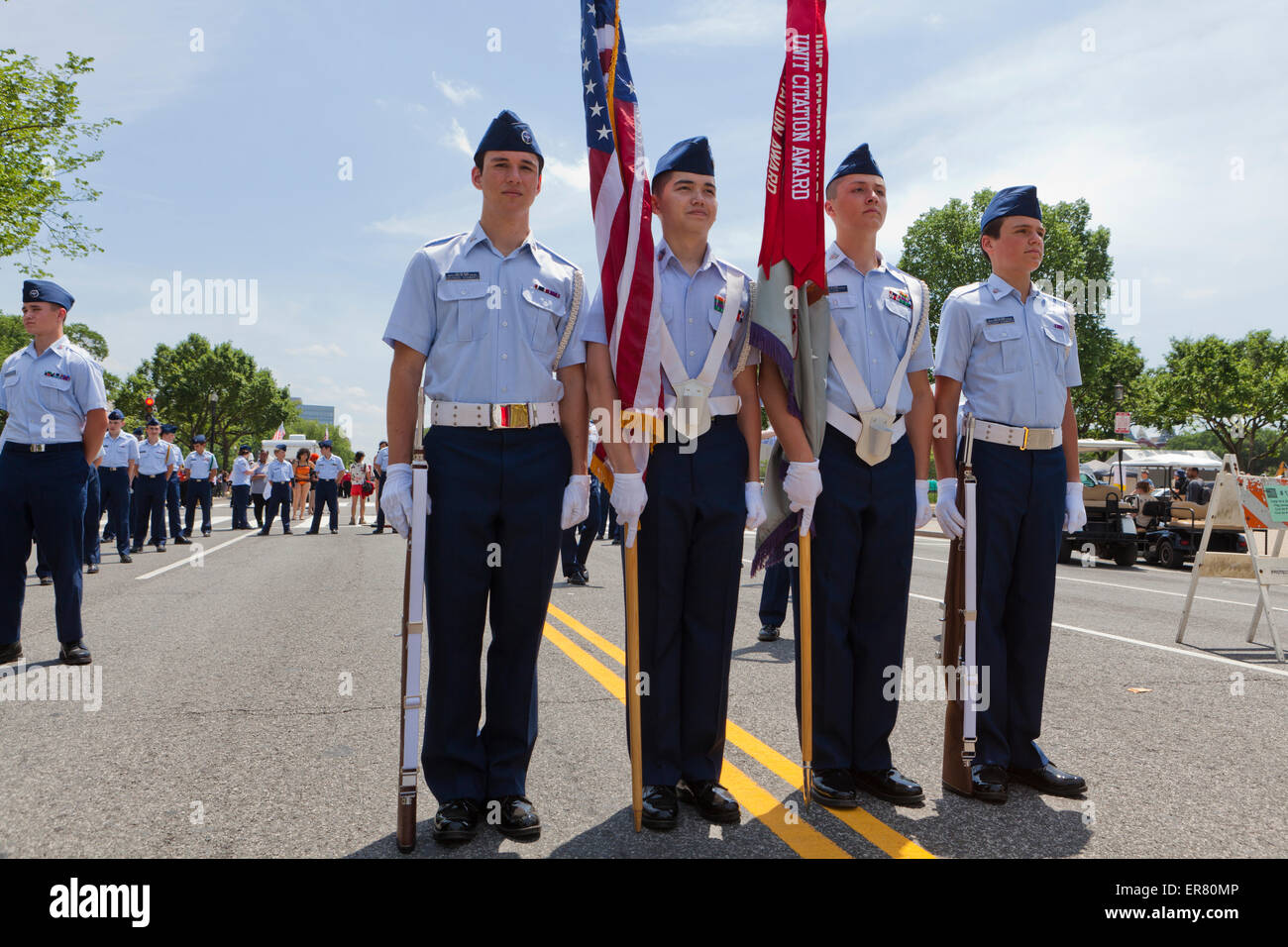 Civil Air Patrol - US Air Force Auxiliary color guards at an outdoor event - USA - Stock Image