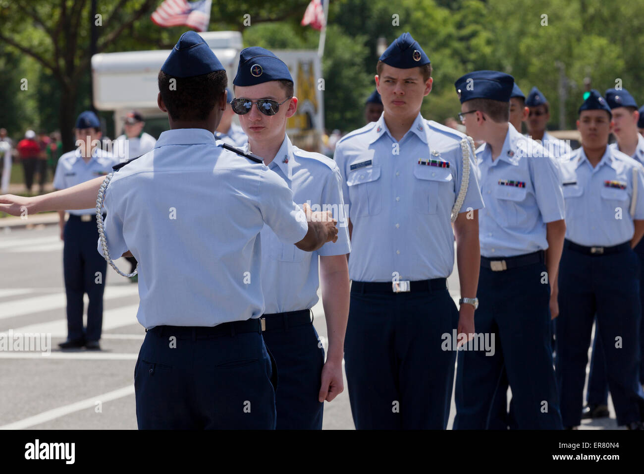 Civil Air Patrol US Air Force Auxiliary cadets at an outdoor event - USA - Stock Image
