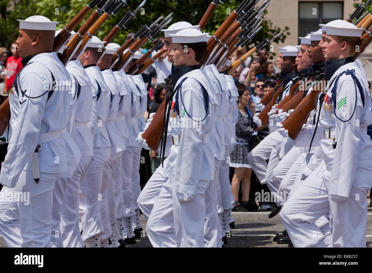 Us Navy Ceremonial Guard Drill Team Marching In Memorial Day - Us-navy-ceremonial-guard