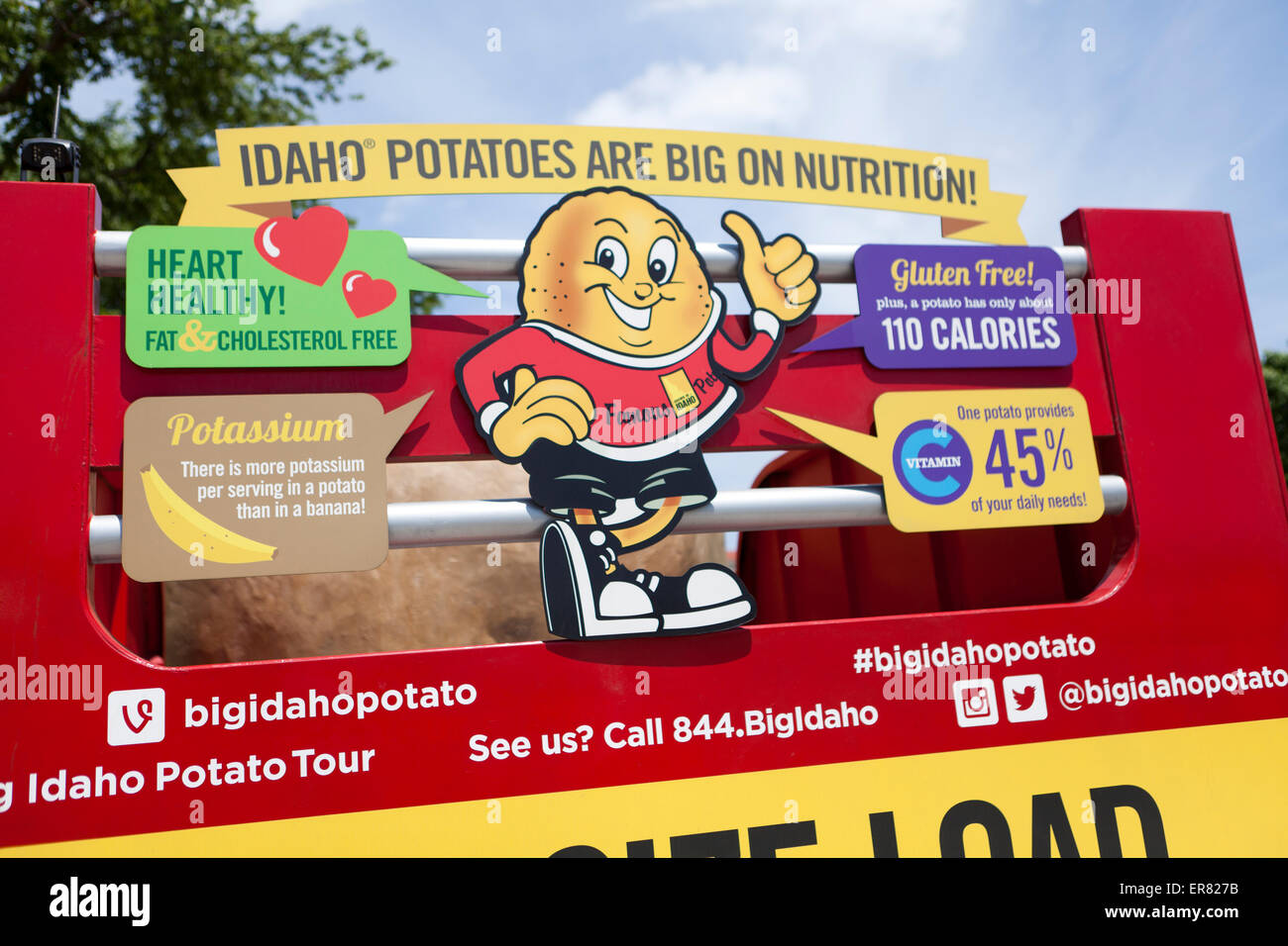 Idaho potato promotion truck sign - USA - Stock Image