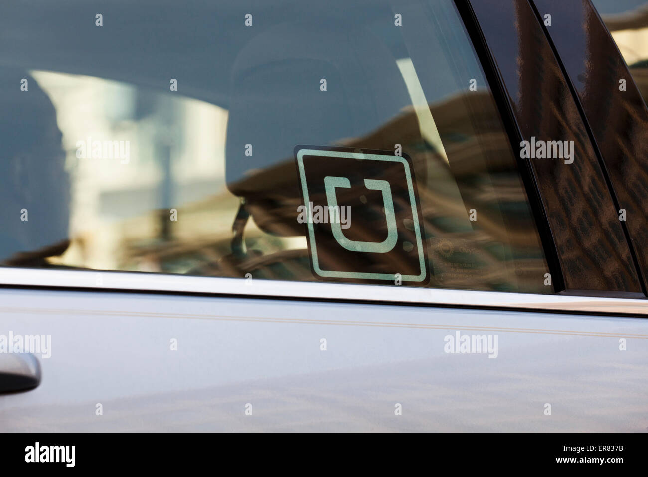 Uber sticker on car window usa stock image