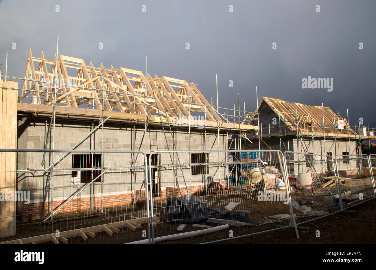 New houses under construction in the village of Bawdsey, Suffolk, England, UK Stock Photo