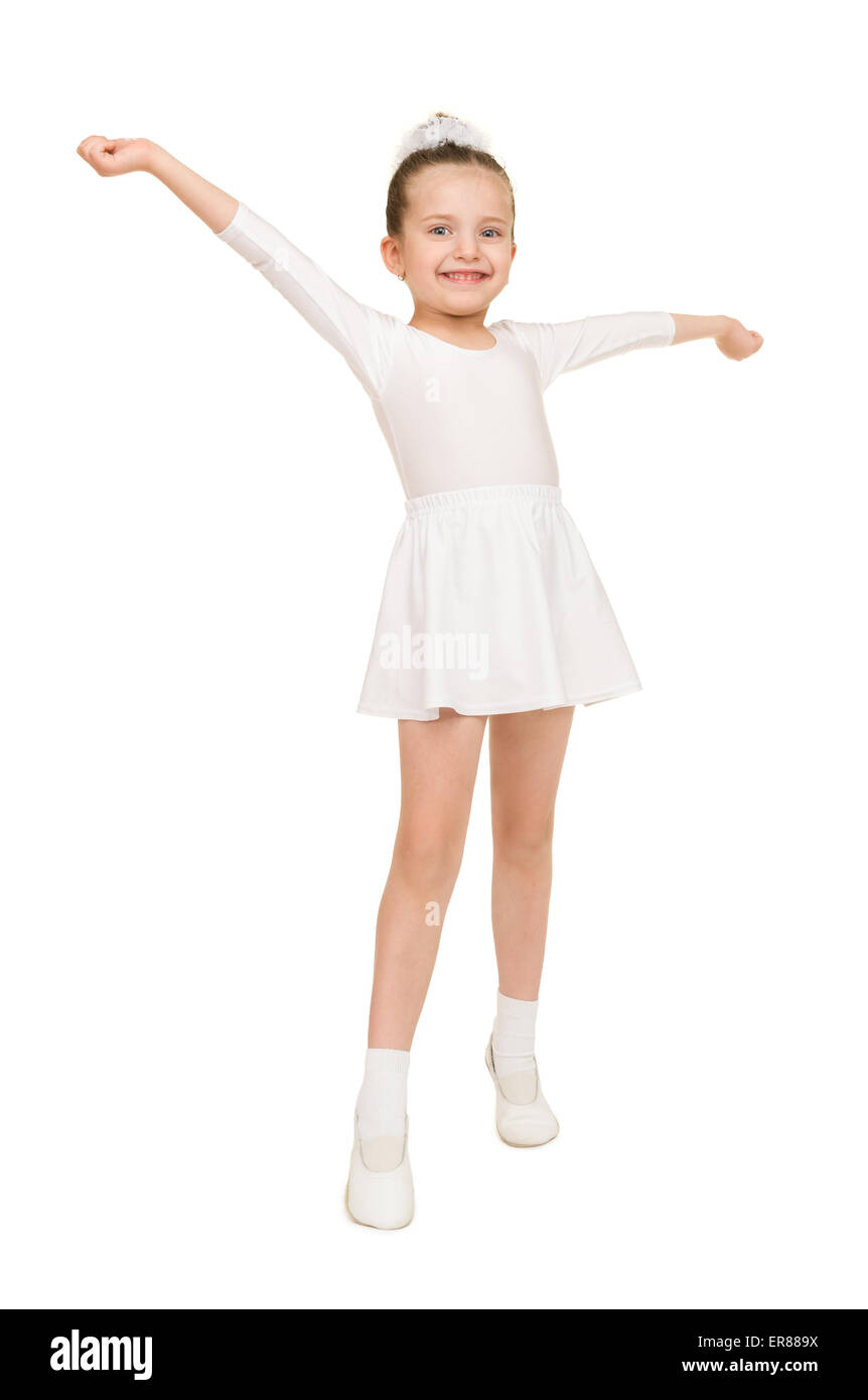 little girl dancing in a white ball gown Stock Photo: 83160726 - Alamy