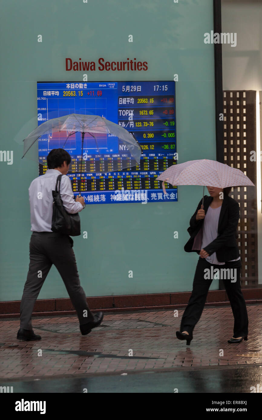 Tokyo, Japan. 29th May, 2015. Pedestrians walk past an electronic board showing the closing price of Nikkei stock - Stock Image