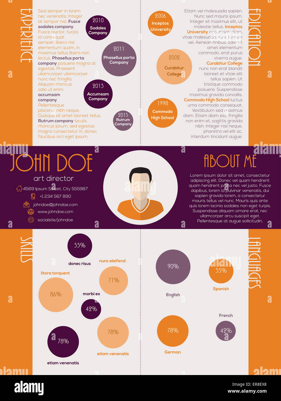 modern cv resume curriculum vitae design with orange purple colors stock photo  83165888