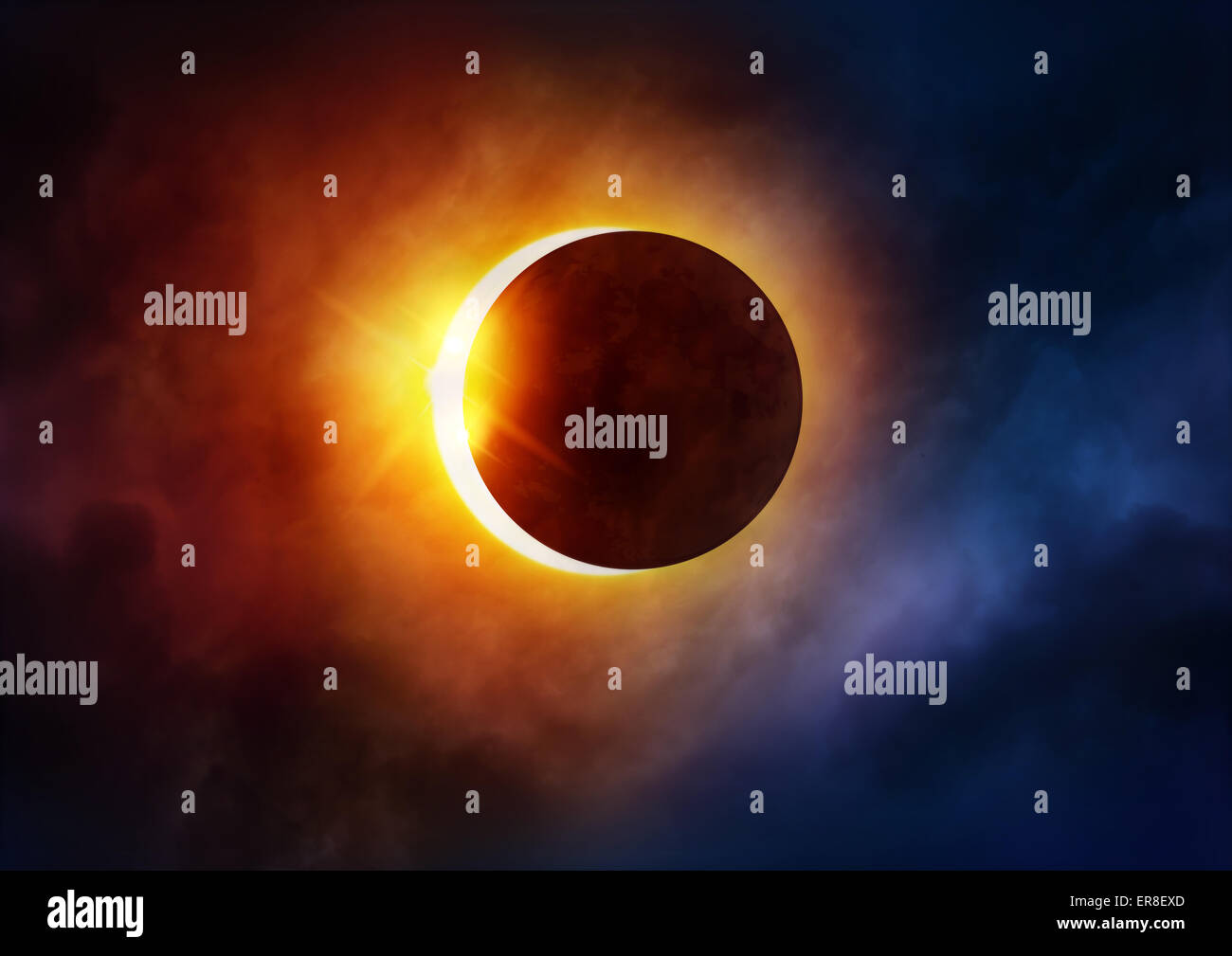 Solar Eclipse. The moon moving in front of the sun. Illustration - Stock Image